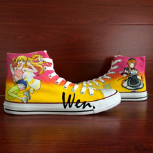 Wen Anime Hand Painted Shoes Anime Design Custom Nisekoi Men Women's High Top Canvas Sneakers for Birthday Gifts
