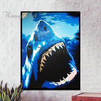 아티스트 손으로 그린 큰 동물 큰 블루 상어 유화 바다 킬러 무서운 상어 유화 프레임이없는