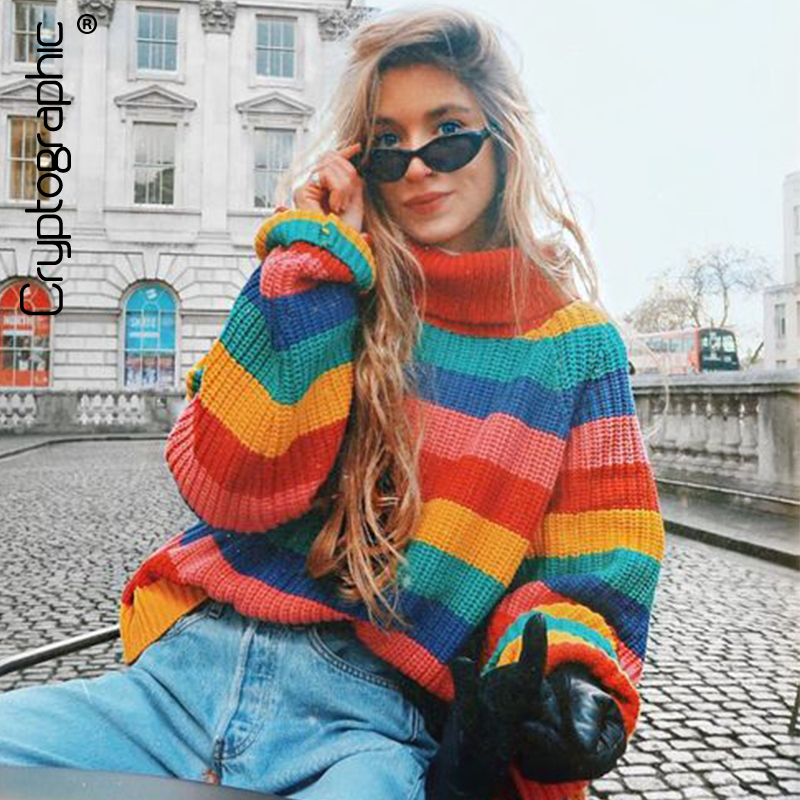 Cryptographic rainbow turtleneck knitted sweaters pullovers women jumpers 2018 winter fashion striped oversize pullover female