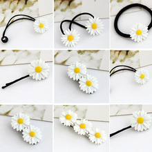 2 Pcs Korean Version hair ornament Summer Small Pure and Fresh Daisy Flower Hair Clip Circle Rope Girl Wholesale