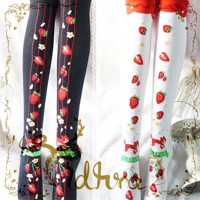 Принцесса сладкий лолита чулки осень и зима вязание рождество клубника гольфы чулки GXW32