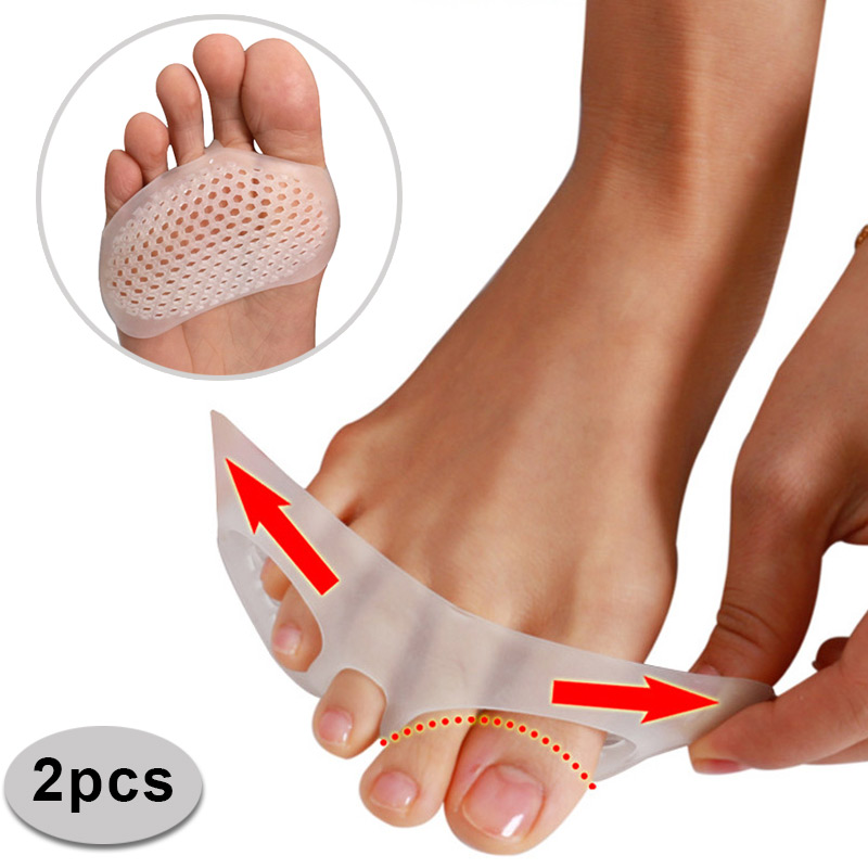 Hot 1 Pair Toe Pads Soft Silicone Gel Shock Anti Forefoot Pad Toe Separator Metatarsal Correction Foot Care Shoes Cushion FM