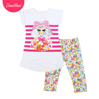 2017 Fashion Brand Domeiland Summer Girl Clothing Set Outfits Baby Wear Cotton Short Sleeved Stripe Shirts