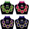 Дубай Колье Ожерелье Позолоченный Многоцветный Бисер для Женщин Нигерии Свадьба Африканские Бусы Комплект Ювелирных Изделий Бесплатная Доставка 10063