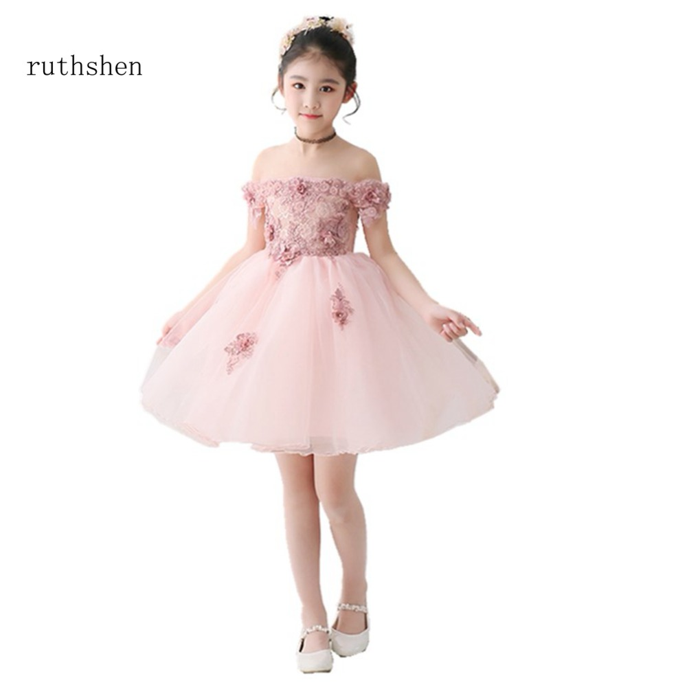 ruthshen Stunning Real Photo Off The Shoulder   Flower     Girl     Dresses   Ball Gown Short Sleeves Boat Neck Party   Dresses   Vestidos 2018