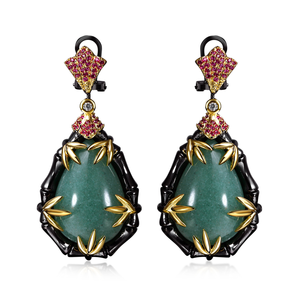 Boutique Jewelry Earrings Pave With Big Green Stones And Red Cubic Zirconia  In Black Large Bamboo