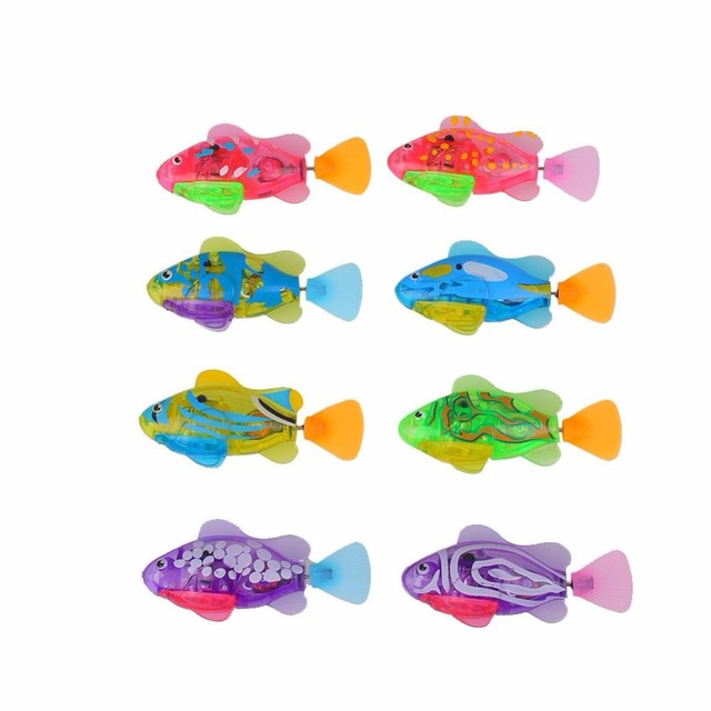 Luminous Electric Robotic Fish Activated Battery Powered Swimming Boy Bath Pet Toys Aquarium Tank Decor Robo Fish Ornments