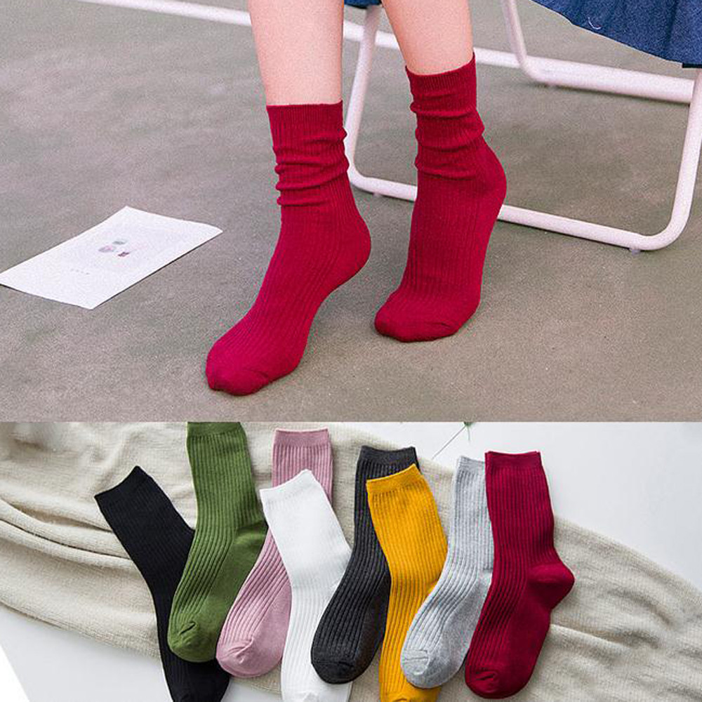 Ladies Socks Dress Socks A Variety Of Solid Color Cotton Socks Casual Sports Breathable  2019 Women Socks Calcitenes