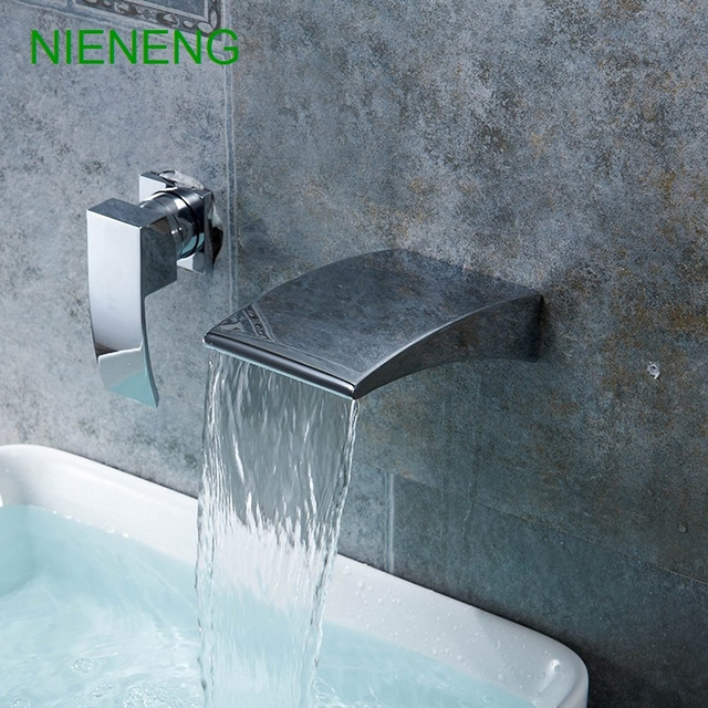 NIENENG bathroom faucet wall mounted chrome sink waterfall faucets ...