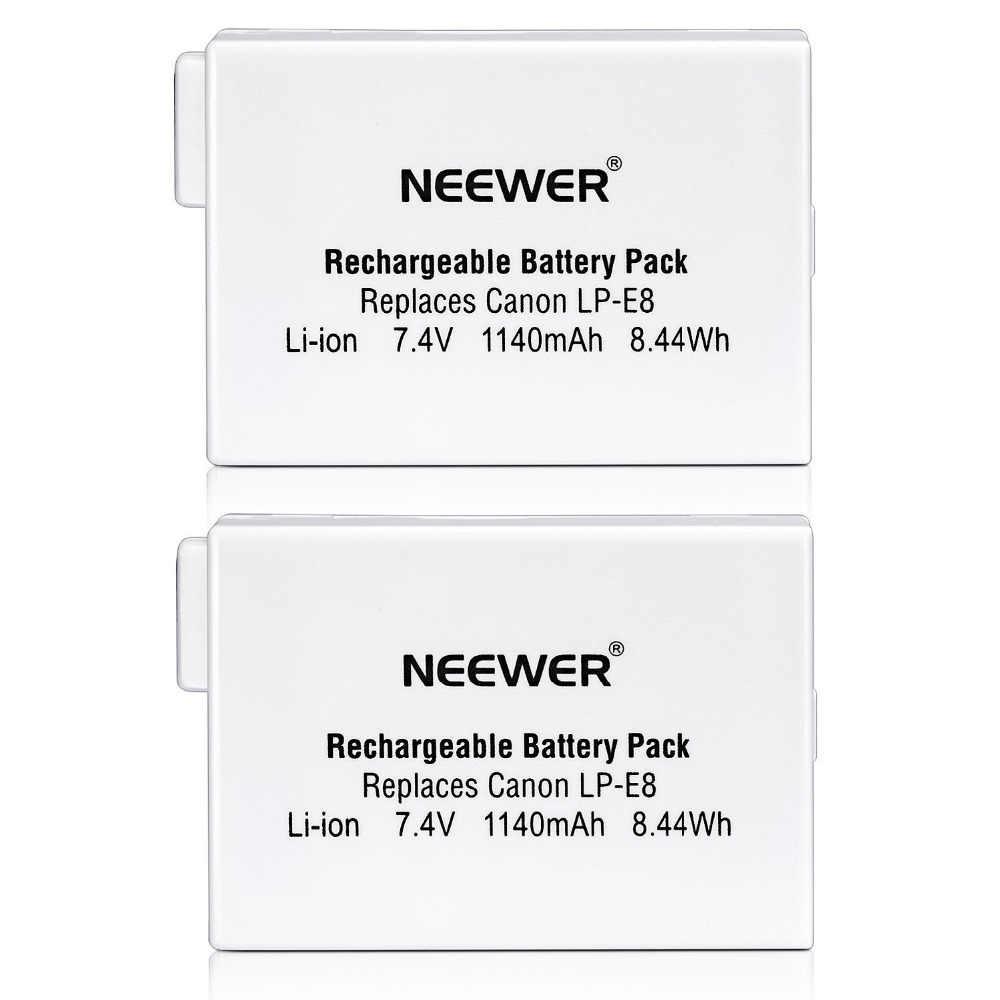 Neewer (2 шт) аккумуляторная LP-E8 литий-ионная батарея для BG-E8 батарейный блок, Canon EOS 550D 600D Digital Rebel T2i T3i