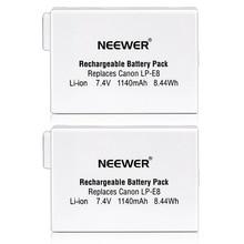 Neewer (2 шт) Перезаряжаемые Замена LP-E8 литий-ионный Батарея для BG-E8 Батарейная ручка, Canon EOS 550D 600D Digital Rebel T2i T3i