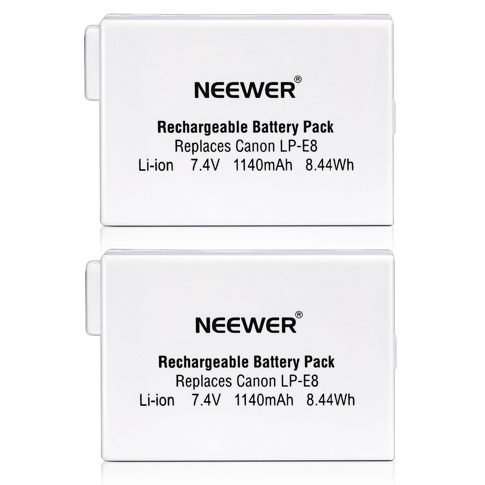 Nuevo (paquete de 2) recargable de LP-E8 batería Li-Ion para BG-E8 de agarre canon EOS 550D 600D Digital Rebel T2i T3i