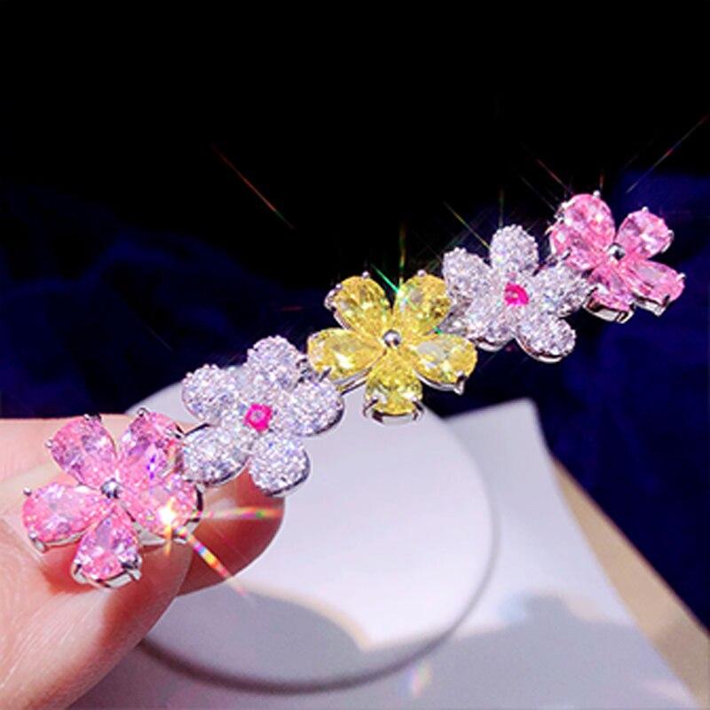 Open-Minded Version Coreana Del Color De La Flor Accesorios Para El Cabello Tocado Con Incrustaciones De Circonio Flor Horquilla Clip Skilful Manufacture Jewelry Sets & More