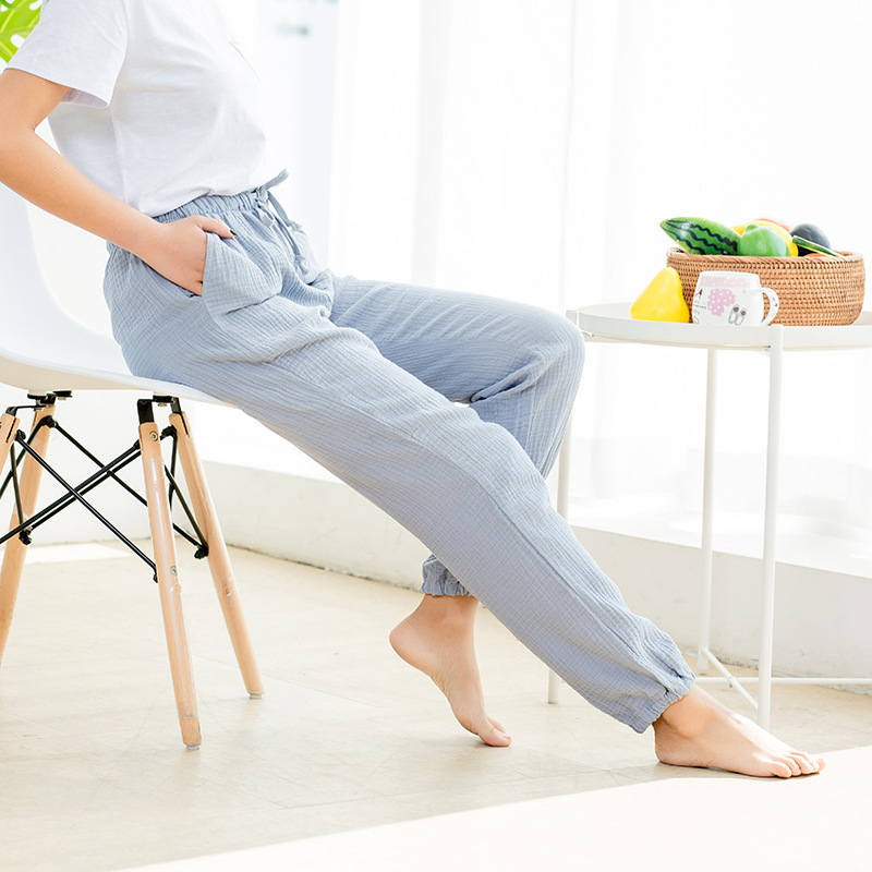 Women Bottoms 100% Cotton Pleated Fabric Sleep Pants Pink Pajama Trousers Solid Pajamas Pants Womens Lounge Wear Pijama Mujer