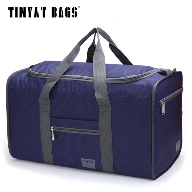 TINYAT Men Portable Bag Waterproof Nylon Pack Folding Bag Easy Carrying High Capacity Handbags Large Bag blue T306