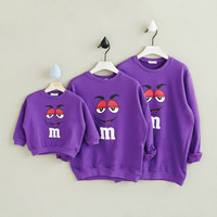Family Matching Clothes Autumn Spring Clothes Couples Clothing Dad Mom Kids Long Sleeve Cartoon Sweater Sweatshirts