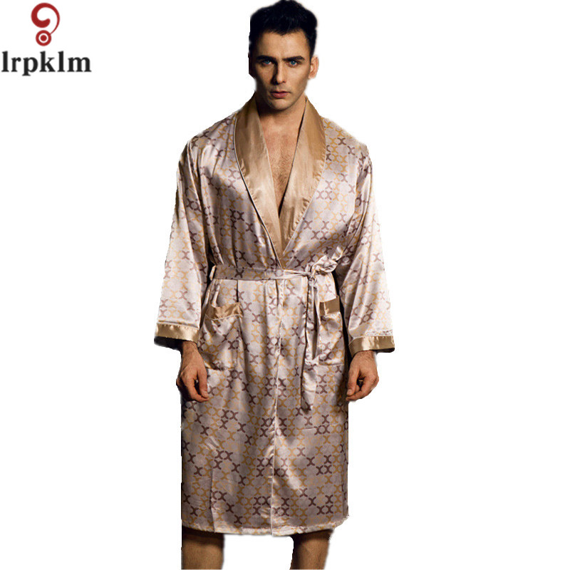 spring autumn new luxury print silk robe male bathrobe mens kimono bath gown mens faux - Mens Bathrobes