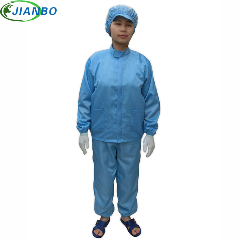 где купить Anti Static Safety Shirt Cleanroom Suit Factory Protection Jumpsuit Work Cleanroom Workshop Laboratory Split Clothing Blue White дешево