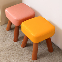 Modern Leather Solid Wood Stool Small Stools Wooden Footstool Shoe Dining Chair Sofa Ottomans Bedroom Bench Kids Furniture Home