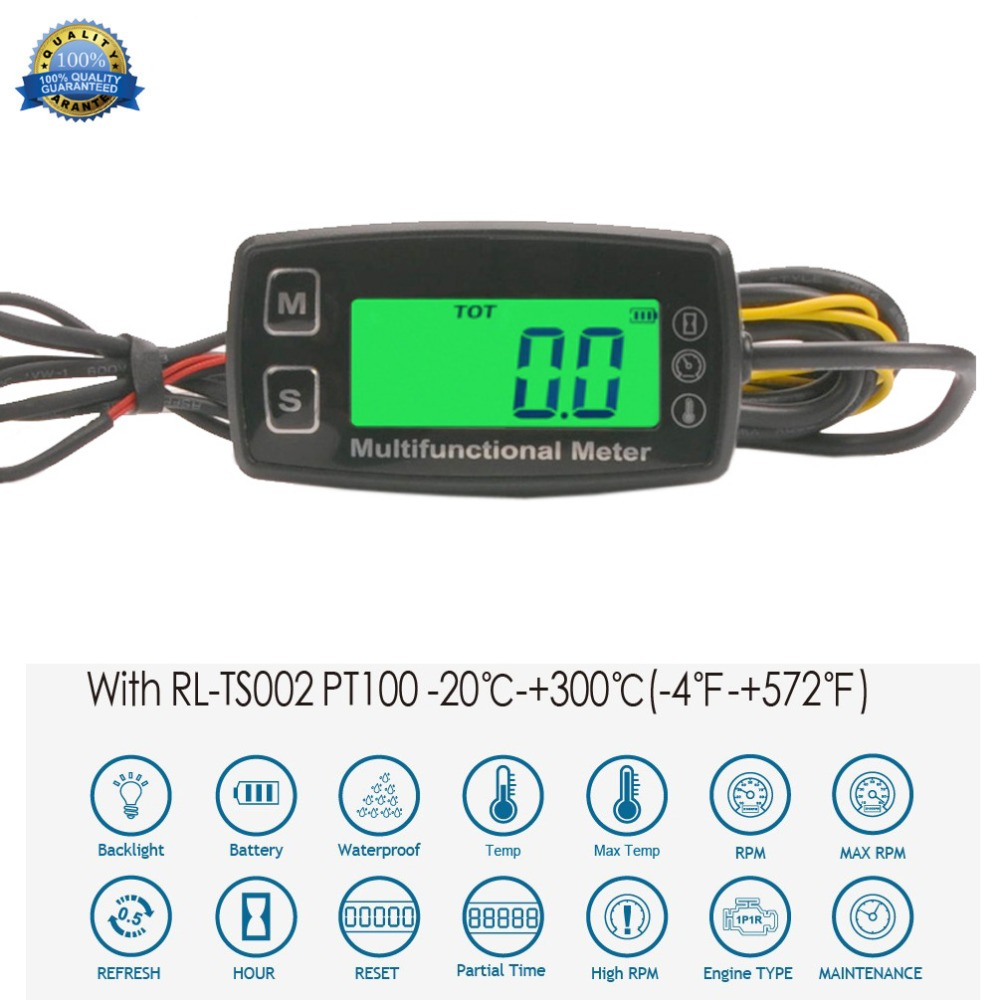 TachHour Meter LCD Digital Thermometer Temp Meter for gas engine motorcycle marine jet boat buggy tractor pit bike paramotor 35T ts001 pt100 20 300 2 temp sensor temp meter temperature thermometer for generator trimmer trailer stump grinders snowmobile