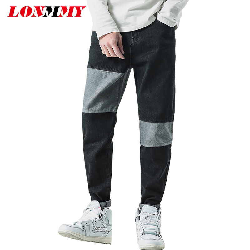 LONMMY Plus size 46 Denim pants cotto Splice fashion Men jeans Casual Jeans mens Clothing stretch 2018 spring autumn New