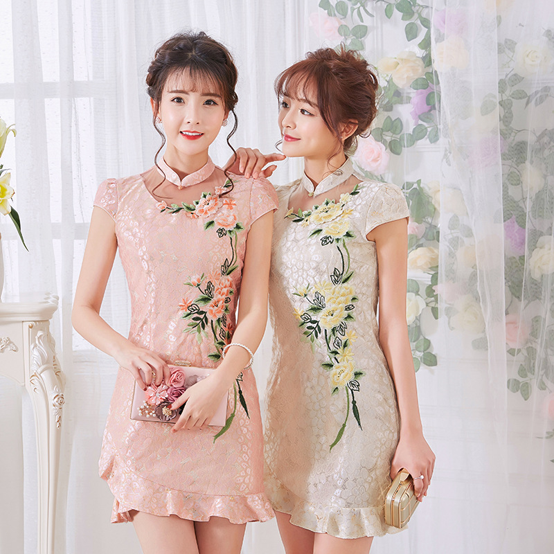 selling spring/summer flag high-grade daily fashion girls show thin modified tangzhuang qipao dress lace The new