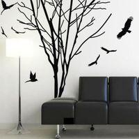 Pássaros Adesivo de Parede Ramo do Tronco de Árvore gigante Decalque Da Parede Art Home Mural Vinil Decor 180x60 cm