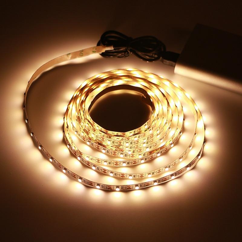 5V USB Cable LED Strip Light SMD3528 50CM 1M 2M 3M 4M 5M Christmas Flexible Non-Waterproof Led Strip Lights TV Background Lights