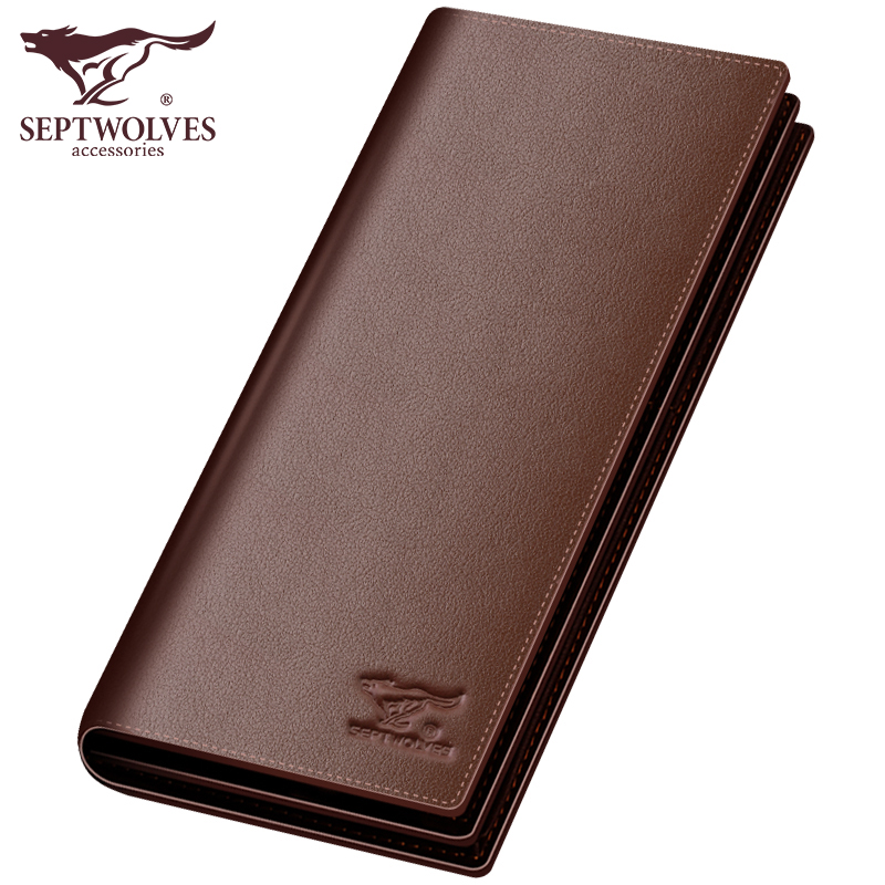 Septwolves fashion brand men wallets genuine leather long business male slim bifold wallet card holder genuine cow leather black brown men wallets luxury brand business fashion style short wallet handy card holder