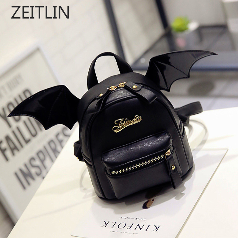 PU Leather Backpack Women Bat Wings Shoulder Bag Teenage Girls Mini Black Bag New Fashion Small Rucksack Mochila Feminina S636 fashion shoulder bag backpack multifunction chest women leather backpack school bags for teenage girls mochila feminina rucksack