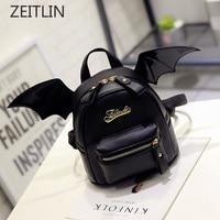 PU Leather Backpack Women Bat Wings Shoulder Bag Teenage Girls Mini Black Bag New Fashion Small Rucksack Mochila Feminina S636