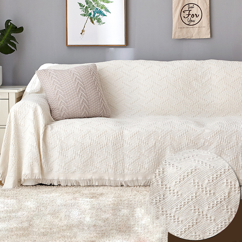 American Vintage White Sofa Cover Blanket For Living Room