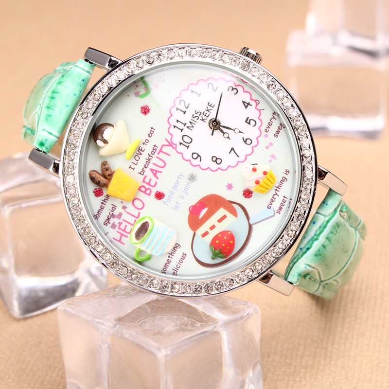 MISS KEKE 2016 Clay Cute 3D Mini Word Leather Strap Children Clock Flower Women Watches Casual Wristwatches Relogio Feminino 906