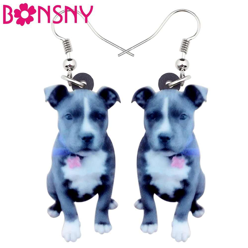 Bonsny Acrylic Staffordshire Bull Terrier Dog Earrings Big Long Dangle Drop Fashion Animal Jewelry For Women Girls Ladies Teens