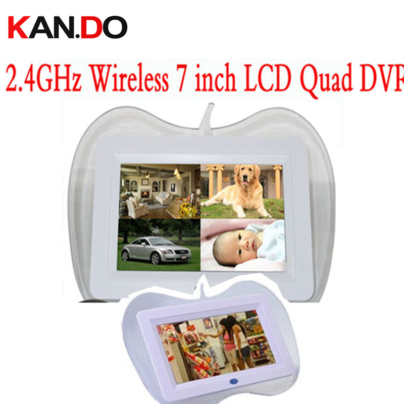 QUAD display 2.4GHz Wireless 7 LCD Monitor receiver DVR support SD Card Video Recording wireless cctv camera receiver displayQUAD display 2.4GHz Wireless 7 LCD Monitor receiver DVR support SD Card Video Recording wireless cctv camera receiver display