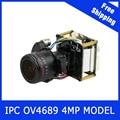 "4MP Câmera IP 2.8-12mm LENTE Zoom Motorizado & Auto Focal 1/3 ""CMOS OV4689 + Hi3516D CCTV IPC módulo board com cabo LAN"