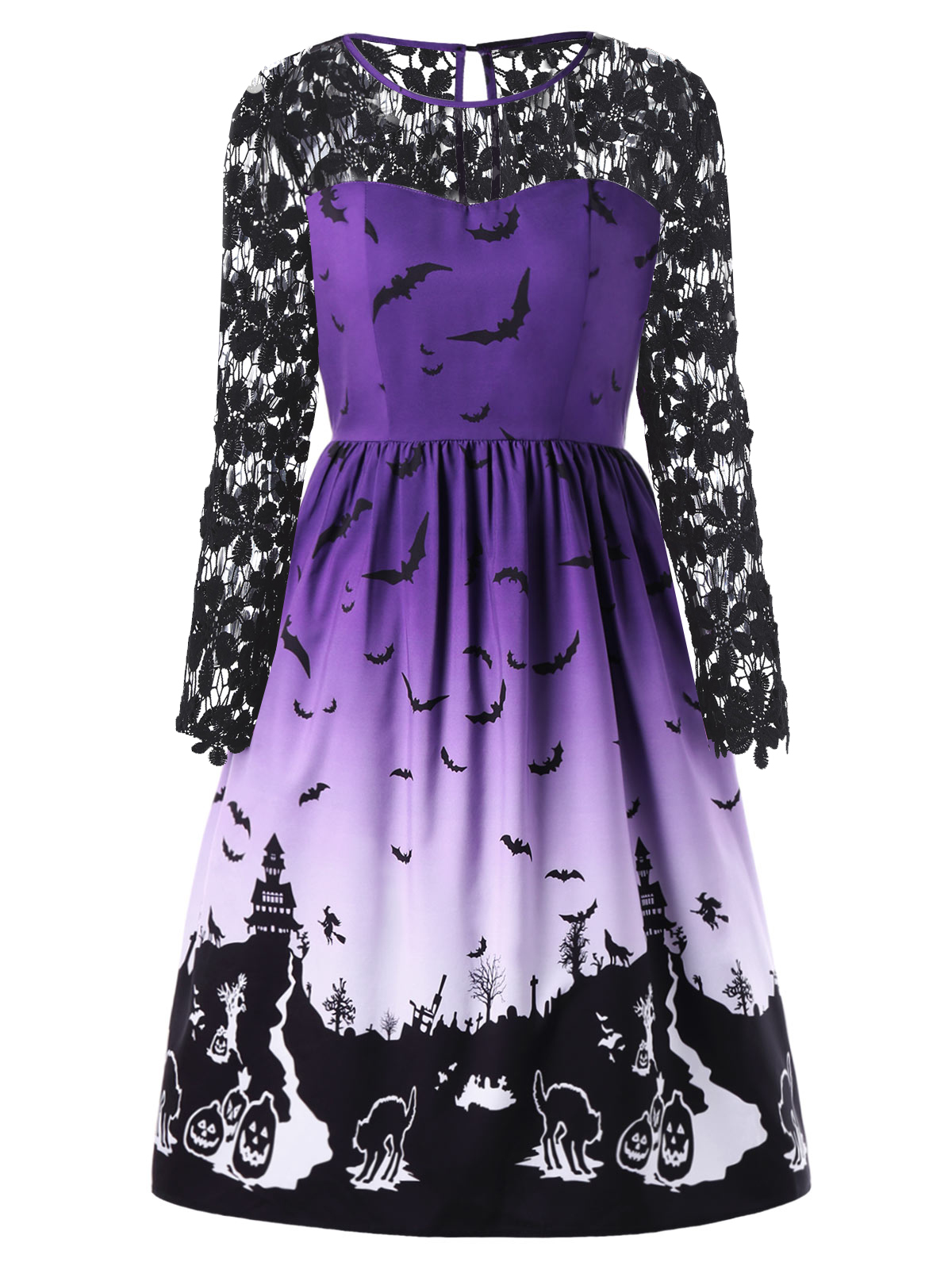 Gamiss Women Autumn Spring Dress Halloween Big Size Lace Panel Bat ...