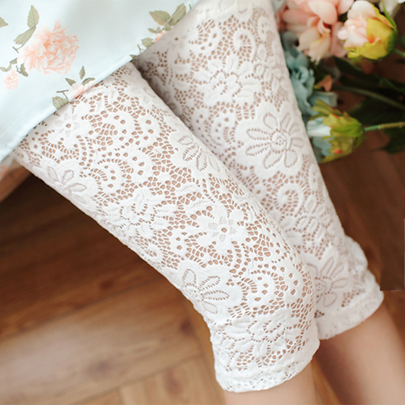 fashion Women Trousers Summer Hollow Pants Fashion Lace Cotton Out Floral Thin Skinny