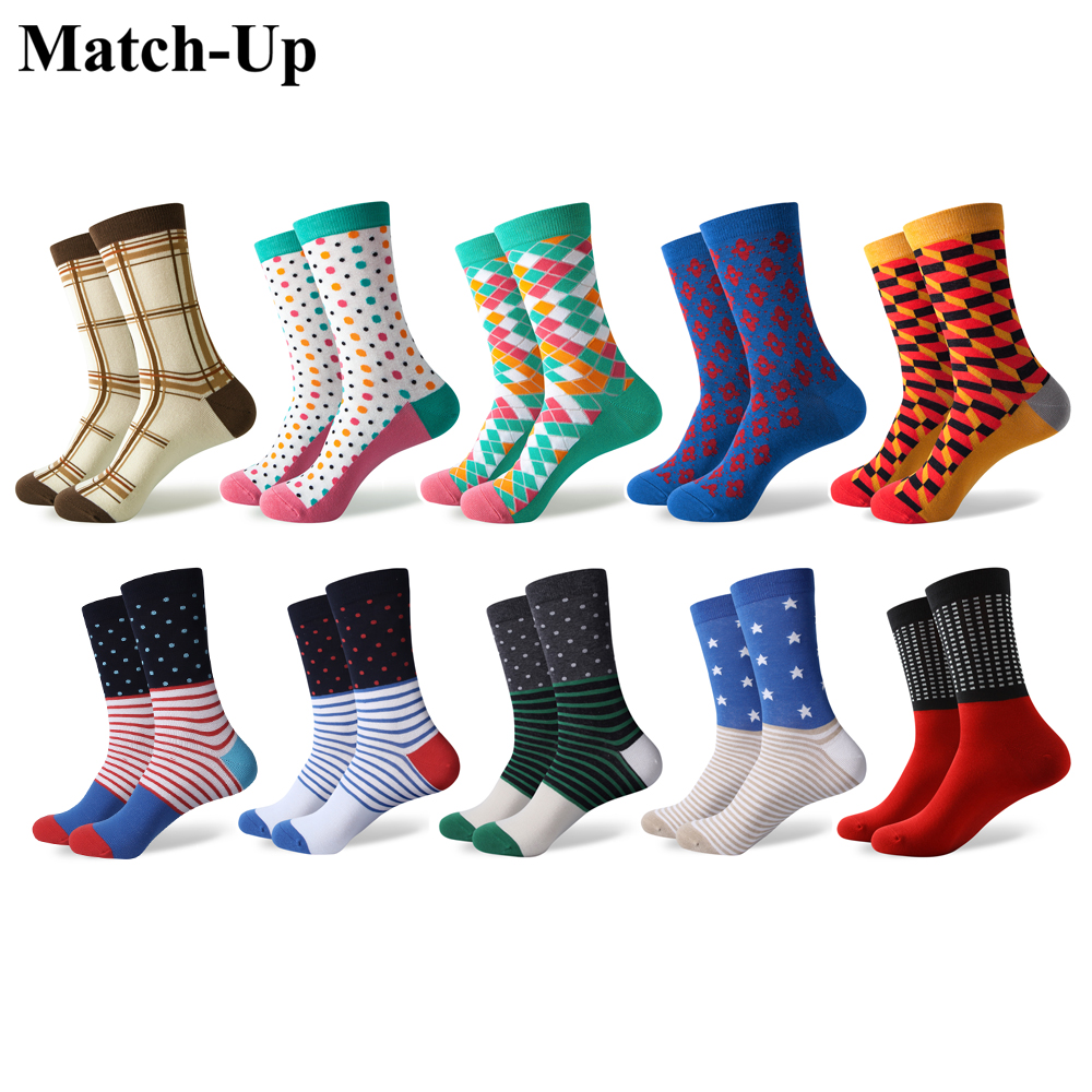 Match Up Men s colorful Cool Cotton Dress socks wedding socks 10 Pairs lot