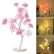 LED Night Lights Rose Flowers Tree Shape Battery Powered Home Decoration Lamp for Kids Room CLH@8