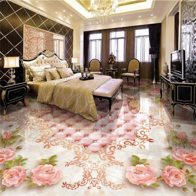 beibehang floor painted to the European style rose soft bag marble relief floor 3D to paste papel de parede 3d para sala atac