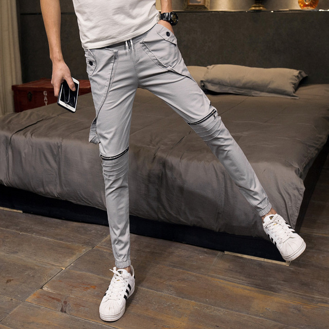 62992f7eb 2018 spring new men's body and leisure pants young white tight small feet  pants student male stretch pants tide