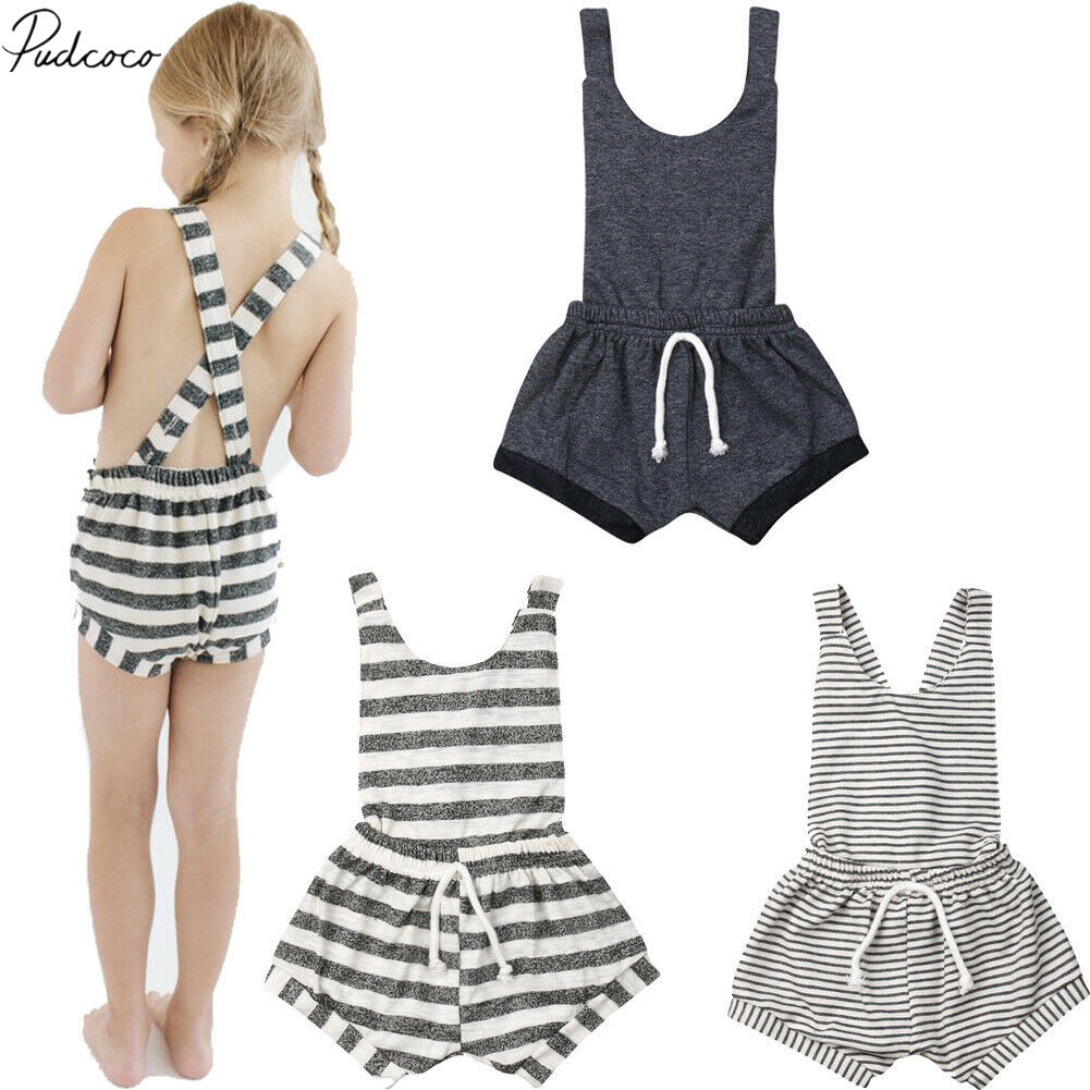 49e3ac3fe 2019 Baby Summer Clothing 0-6Y Infant Baby Girl Boy Romper Clothes  Sleeveless Striped Backless