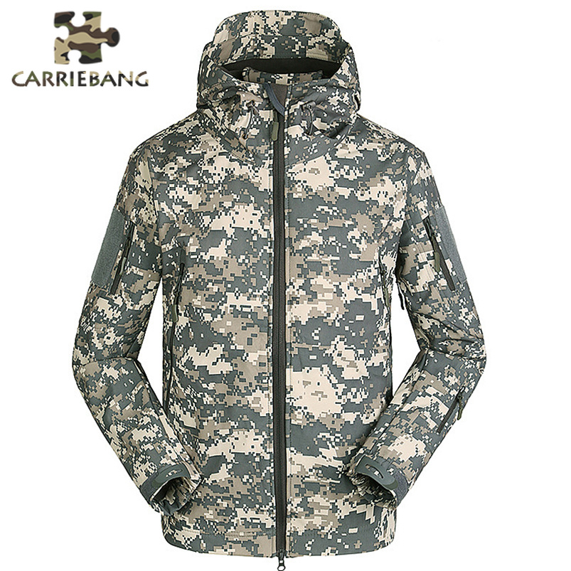 Men Autumn Winter Warm Jackets Fleece Black Green Camo Print Army Military Special Forces Camouflage Suit