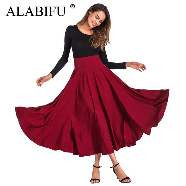 ALABIFU High Waist Summer Women Long Skirt 2019 Casual Elegant Solid Ball Gown Skirt Female Vintage Sexy Party Skirt Black Red