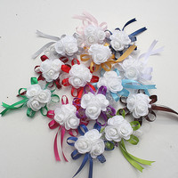 10 sztuk/partia Dekoracje Ślubne 3 Wzrosła Wrist Corsages Ręka Kwiaty Dla PE Wstążka Sztuczne Brides Druhna Kwiat