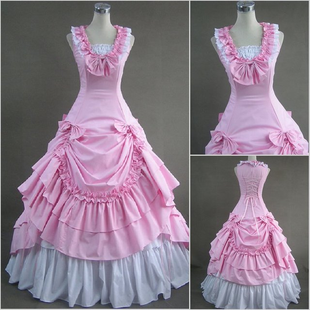 Free Shipping!Customer Order! Victorian Lovely Pink Cotton Poly Ball Gown Dress  All Size Available!
