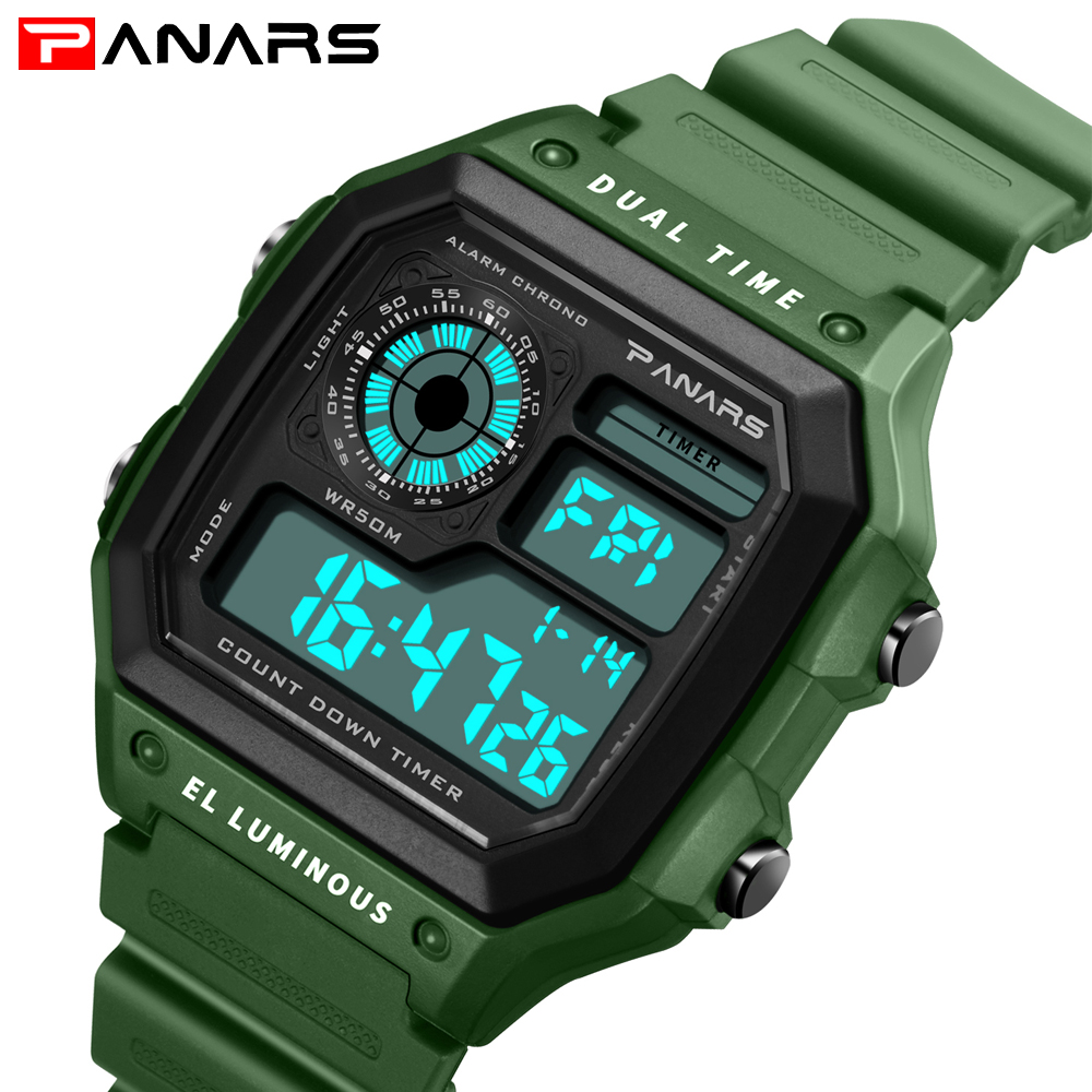PANARS Business Men Watches Fashion Casual Watch Rubber Strap Digital Wristwatch Clock Relogio Masculino Erkek Kol Saati