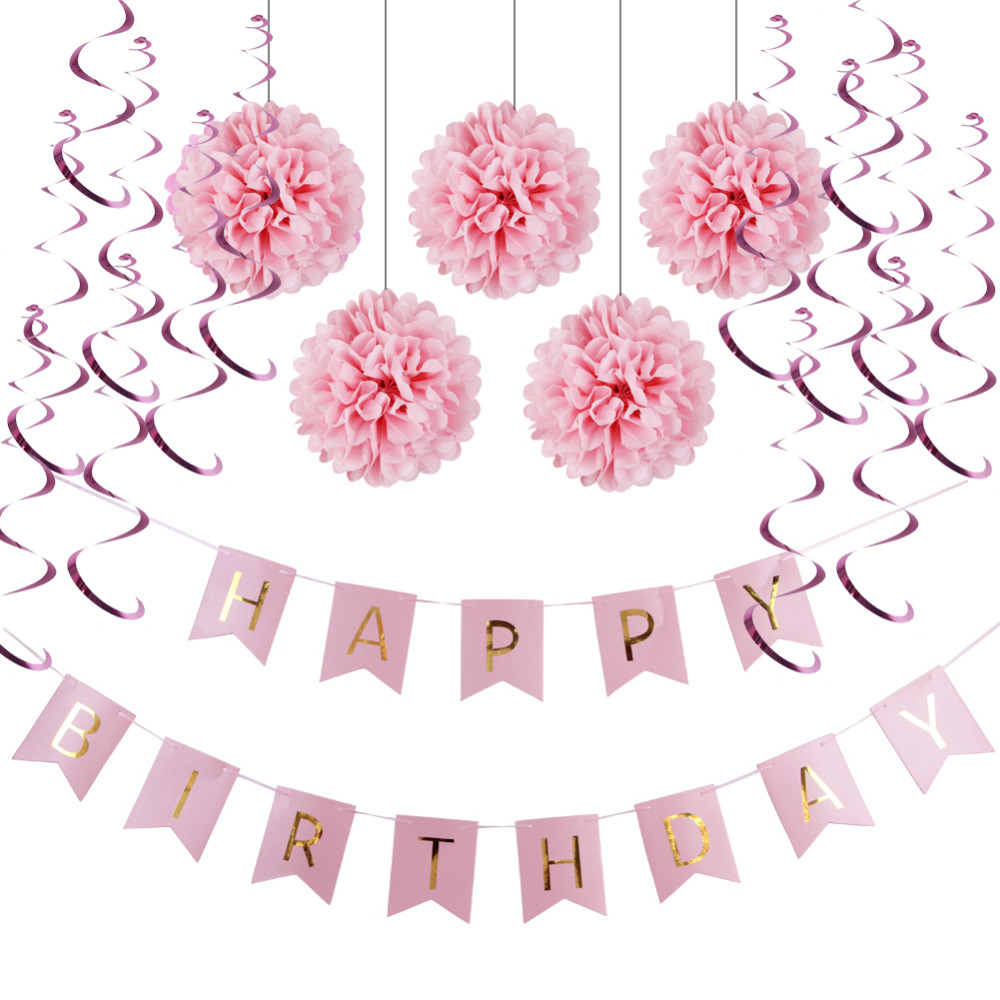 (Pink, Blue) Paper Decoration Set (Happy Birthday Banner, Folie Swirls, Pom Poms) til Girls Boys Fødselsdagsfest Første Fødselsdag