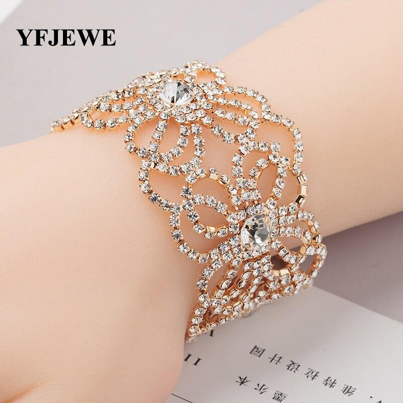 YFJEWE Luxury Rhinestone Bridal Wedding Accessories Jewelry Bracelets & Bangles Fashion Charm Bijoux Bracelets for Women B147